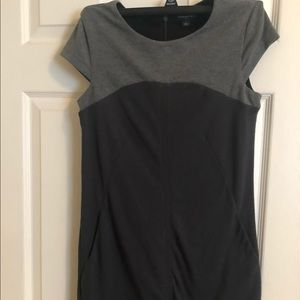 Black and grey knee length dress